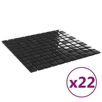vidaXL Samoljepljive pločice mozaik 22 kom sjajne crne 30x30 staklene