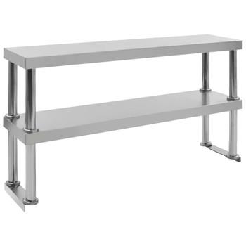 vidaXL Polica za radni stol s 2 razine 120x30x65 cm nehrđajući čelik