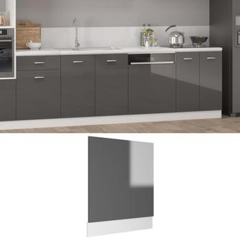 vidaXL Ploča za perilicu posuđa sjajna siva 59,5 x 3 x 67 cm iverica