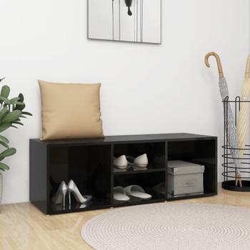 vidaXL Klupa za spremanje obuće sjajna crna 105x35x35 cm od iverice