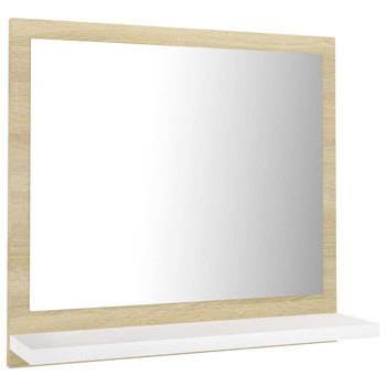 vidaXL Kupaonsko ogledalo bijelo i boja hrasta 40x10,5x37 cm iverica