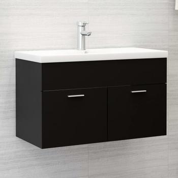 vidaXL Ormarić za umivaonik crni 80 x 38,5 x 46 cm od iverice