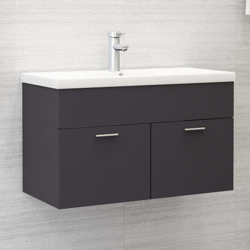 vidaXL Ormarić za umivaonik sivi 80 x 38,5 x 46 cm od iverice