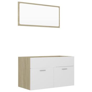 vidaXL 2-dijelni set kupaonskog namještaja bijela/hrast od iverice