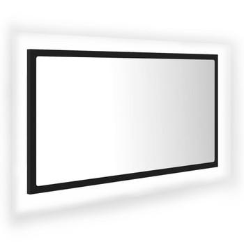 vidaXL LED kupaonsko ogledalo crno 80 x 8,5 x 37 cm od iverice