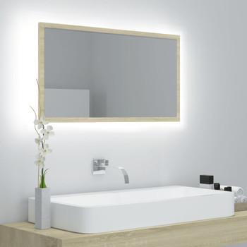 vidaXL LED kupaonsko ogledalo boja hrasta sonome 80x8,5x37 cm iverica