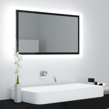 vidaXL LED kupaonsko ogledalo visoki sjaj crno 80x8,5x37 cm od iverice