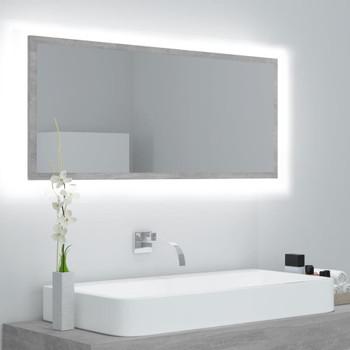 vidaXL LED kupaonsko ogledalo siva boja betona 100x8,5x37 cm iverica