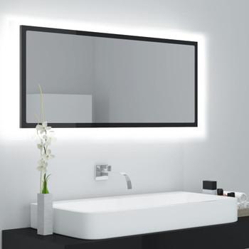 vidaXL LED kupaonsko ogledalo visoki sjaj crno 100x8,5x37 cm iverica