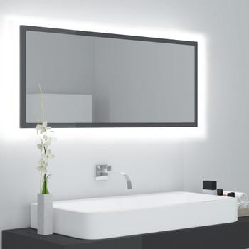 vidaXL LED kupaonsko ogledalo visoki sjaj sivo 100x8,5x37 cm iverica