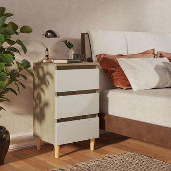 vidaXL Noćni ormarić s drvenim nogama bijeli/boja hrasta 40x35x69 cm