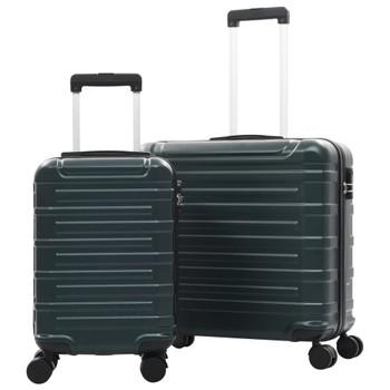 vidaXL 2-dijelni set čvrstih kovčega zeleni ABS