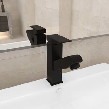 vidaXL Slavina za umivaonik s funkcijom izvlačenja siva 157 x 172 mm