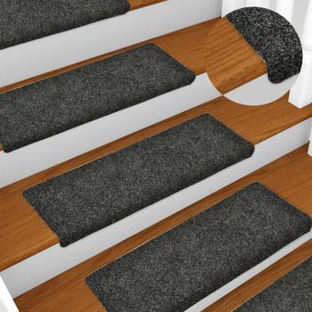 vidaXL Otirači za stepenice 10 kom 65 x 25 cm sivi prošiveni