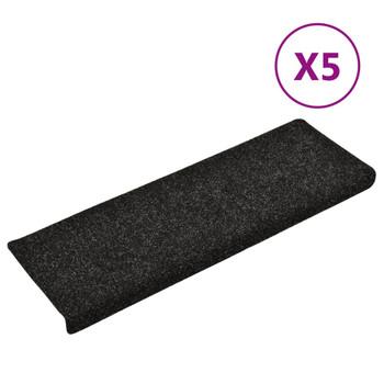 vidaXL Otirači za stepenice 5 kom crni 65 x 25 cm prošiveni