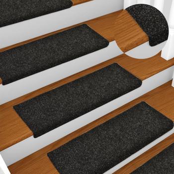 vidaXL Otirači za stepenice 10 kom crni 65 x 25 cm prošiveni