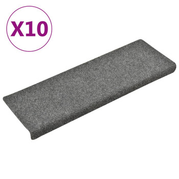 vidaXL Otirači za stepenice 10 kom 65 x 25 cm svjetlosivi prošiveni