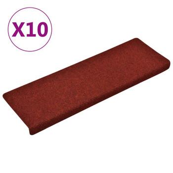 vidaXL Otirači za stepenice 10 kom bordo 65 x 25 cm prošiveni