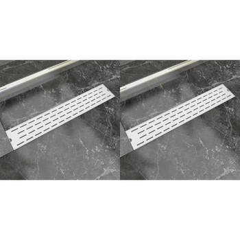 vidaXL Linearni odvod za tuš 2 kom s crtama 630 x 140 mm od čelika