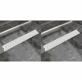 vidaXL Linearni odvod za tuš 2 kom s linijama 730 x 140 mm od čelika