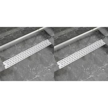 vidaXL Linearni odvod za tuš 2 kom s linijama 830 x 140 mm čelični