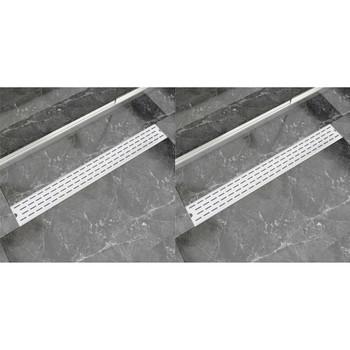 vidaXL Linearni odvod za tuš 2 kom s linijama 930 x 140 mm od čelika