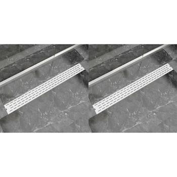 vidaXL Linearni odvod za tuš 2 kom s linijama 1030 x 140 mm čelični