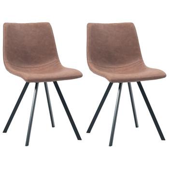 vidaXL Blagovaonske stolice od umjetne kože 2 kom srednje smeđe