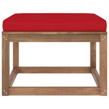 vidaXL Vrtni tabure s crvenim jastukom