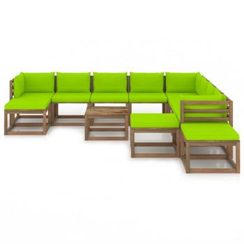 vidaXL 12-dijelna vrtna garnitura s jarko zelenim jastucima