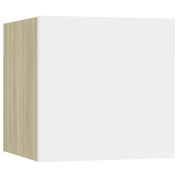 vidaXL Noćni ormarić bijeli i boja hrasta 30,5 x 30 x 30 cm od iverice