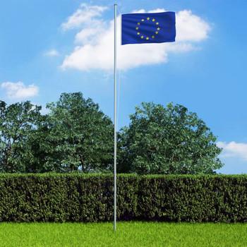vidaXL Europska zastava s aluminijskim stupom 4 m