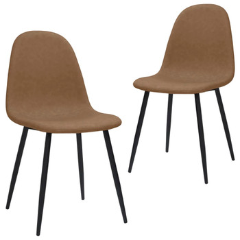 vidaXL Blagovaonske stolice 2 kom 45x54,5x87cm tamnosmeđe umjetna koža