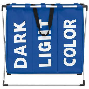 vidaXL Košara za razvrstavanje rublja s 3 odjeljka plava