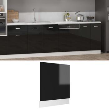 vidaXL Ploča za perilicu posuđa sjajna crna 59,5 x 3 x 67 cm iverica