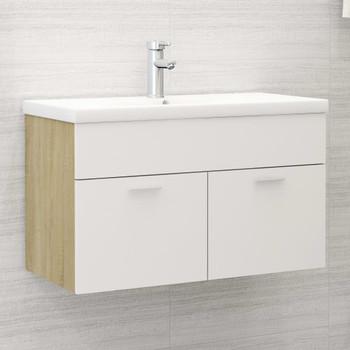 vidaXL Ormarić za umivaonik bijeli i boja hrasta 80x38,5x46 cm iverica