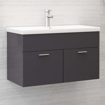 vidaXL Ormarić za umivaonik visoki sjaj sivi 80 x 38,5 x 46 cm iverica