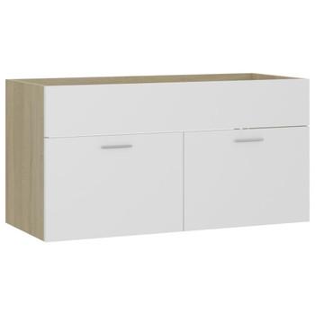 vidaXL Ormarić za umivaonik bijeli i boja hrasta 90x38,5x46 cm iverica