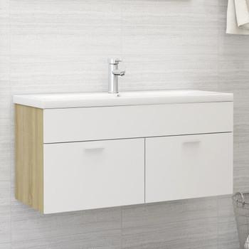 vidaXL Ormarić za umivaonik bijeli i boja hrasta 100x38,5x46cm iverica