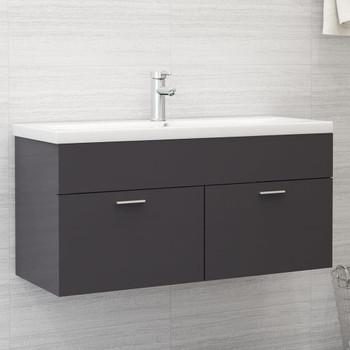 vidaXL Ormarić za umivaonik visoki sjaj sivi 100x38,5x46 cm od iverice
