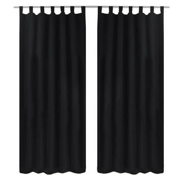2 komada Crna mikro-satenska zavjesa s tregerima 140 x 225 cm