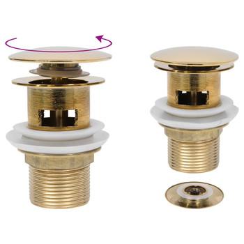 vidaXL Potisni odvod sa zaštitom od prelijevanja zlatni 6,4x6,4x9,1 cm