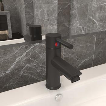 vidaXL Kupaonska slavina za umivaonik siva 130 x 176 mm