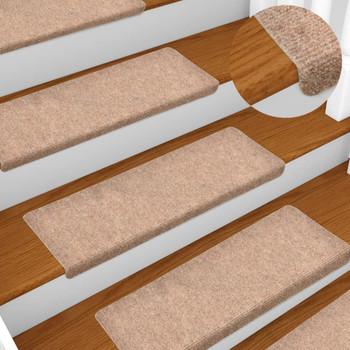 vidaXL Otirači za stepenice 5 kom smeđi 65 x 25 cm prošiveni