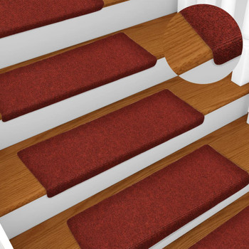 vidaXL Otirači za stepenice 5 kom bordo 65 x 25 cm prošiveni