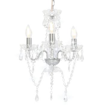 vidaXL Luster s perlama srebrni okrugli 3 x E14