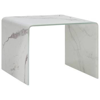 vidaXL Stolić za kavu bijeli mramorni 50 x 50 x 45 cm kaljeno staklo