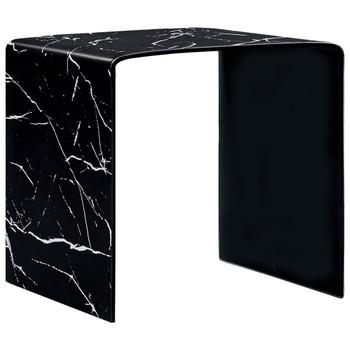 vidaXL Stolić za kavu crni mramorni 50 x 50 x 45 cm od kaljenog stakla