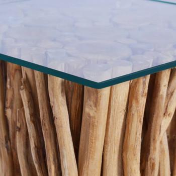 vidaXL Stolić za kavu sa staklenom površinom 66x66x40 cm od tikovine
