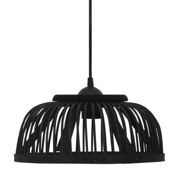 vidaXL Viseća svjetiljka od bambusa crna 40 W 30x12 cm polukružna E27